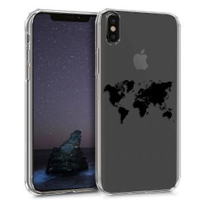 Etui do na Apple iPhone X Crystal TPU mapa świata czarna - 4057665367982
