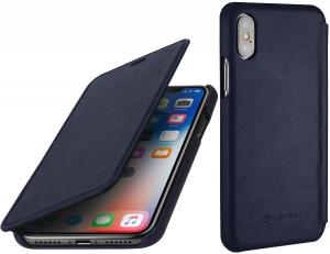 Etui do na Apple iPhone X / Xs - Book, granatowy nappa - B078BNKSWV