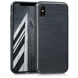 Etui do na Apple iPhone X TPU imitacja Aluminium szary- 4057665271906