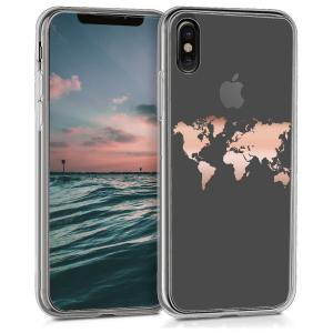 Etui do na Apple iPhone X Crystal TPU mapa świata złota - 4057665330207