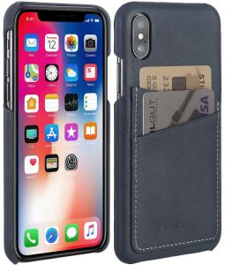 Etui do na Apple iPhone X / Xs - Cover, szary niebieski nappa - B077QNX5L8