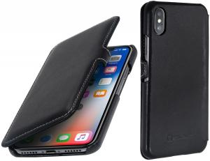 Etui do na Apple iPhone X / Xs - UltraSlim Book, czarny nappa - B075JJ2831