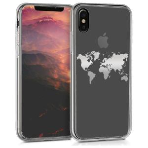 Etui do na Apple iPhone X Crystal TPU mapa świata srebrna - 4057665371583